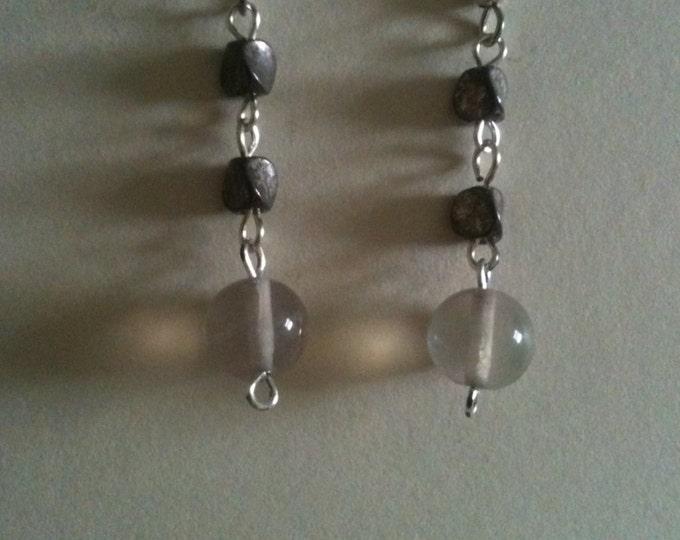 fluorite and silver earrings