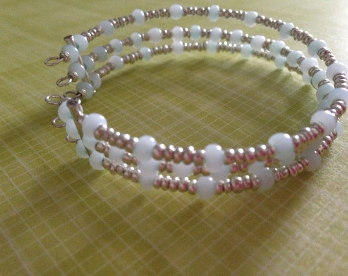 clearance! light blue and silver glass beaded cuff bracelet