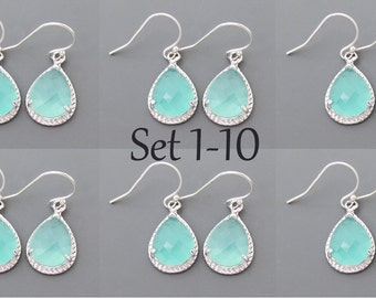 Set of 1-10, Mint, Opal, Glass, Silver, Earrings, Dangle, Drop, Hook, Earrings, Modern, Minimal, Bridal, Bridesmaid, Wedding, Gift, Jewelry