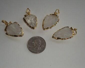 NEW! Small Crystal Quartz Arrowhead Pendant Charm with 24k Gold Edging-CCA0215