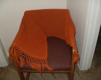 Light Orange Rectangular Shawl