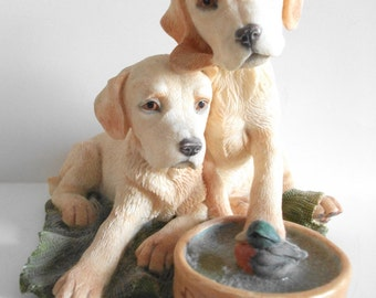 Country Artists Made - Labrador Puppies & Dog Bowl