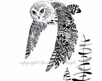 ORIGINAL PEN and INK Drawing; zentangle, doodle, saw-whet owl, bird of prey, nature, wilderness, forest, wall art, a gift for all occasions