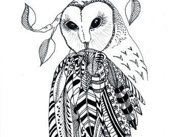 ORIGINAL PEN and INK Drawing: barn owl, free shipping for Christmas, feathers, wings,nature,wilderness, bird of prey, wall art, Canadian art