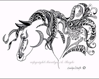ORIGINAL INK DRAWING; art, zentangle, doodle, horse, wall art, black and white, Spirit of the Horse series,