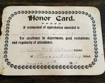 1903 Pleasant Valley School Honor Card / Educatoin / History / Attendance / Award