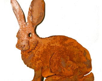 Mama Bunny - Steel Rabbit Silhouette with Rusty Patina