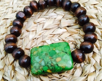 Green Turquoise & Brown Wooden Beads Bracelet.