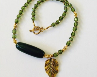 Ocotillo stone necklace. ***Side leaf pendant optional***