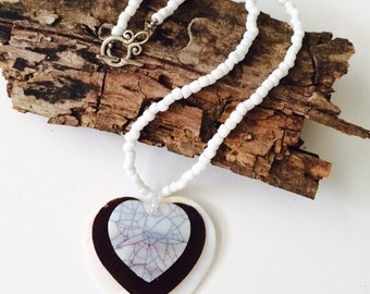 Black & White Seashell Heart Necklace.