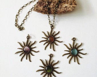 Antique Brass Sun Necklace.