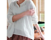 Linen original cotton dress loose top loose shirt long sleeves shirt blouse