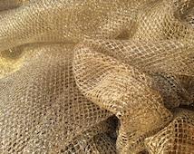 Gold Metallic Mesh hard Net Fabric Supplies sewing fancy dress costumes tulle dress net yardage fabrics Prestige Fashion- PER METRE