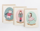 Set of 3 Nutcracker Christmas/Holiday cards - assorted - A2 size