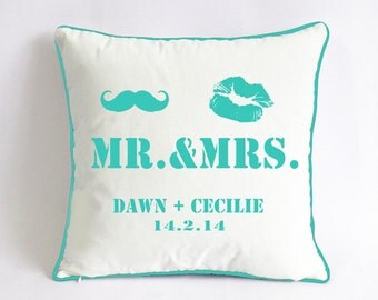 turquoise pillow cover, 18x18 personalized couple pillowcase, Mr and Mrs throw pillow, anniversary gift for couple, monogramed name pillow