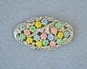 Rhinestone & Poured Glass Flowers Pot Metal Brooch