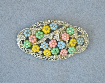 Rhinestone & Poured Glass Flowers Pot Metal Brooch Rhodium Plated Vintage
