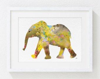 Elephant Painting, Watercolor Art - 5x7 Archival Print - Animals, Yellow Elephant Painting, Wall Decor Art Home Decor Housewares