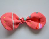 Knotted Hair Bow in Coral Arrows