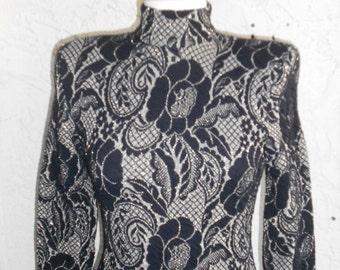 Vintage 80s Metallic Knit  Body Con Mini Dress 5/6 Small