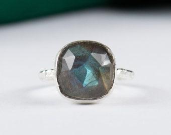 Labradorite Gemstone Sterling Silver Ring - Set Ring Size 4 5 6 7 8 9 10