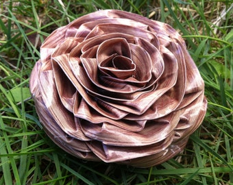 Wood Duct Tape Hair Clip Brooch Flower Rose
