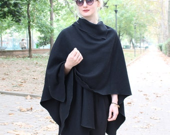 Black poncho, women wool poncho, asymmetric cape, loose fitting poncho coat, black wool cardigan