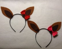 1 quantity headband kangaroo ears with pink red bow or zebra bow headband birthday party costume photo booth prop pretend play