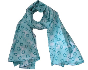 Summer scarf for children, blue stars. Kids scarf, turquoise animal designs. boys or girls
