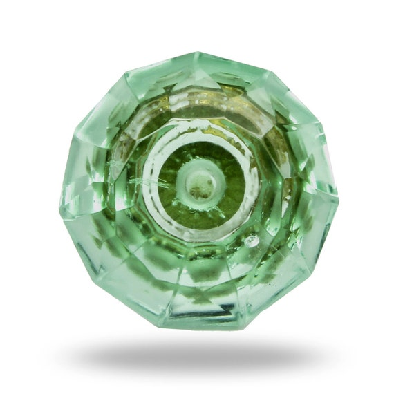 Glass Knob In Mint Green Faceted Dresser Drawer Pull