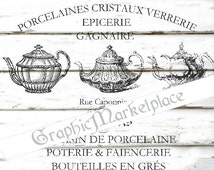 French Porcelain Teapots Tea Instant Download Transfer Burlap digital collage sheet graphic printable No. 1603