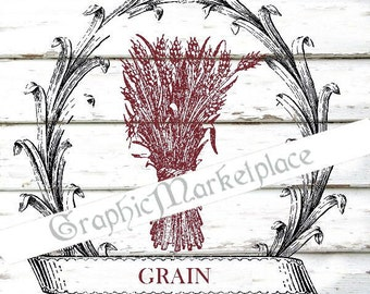 Grain Wreath Instant Download Transfer Burlap digital collage sheet graphic printable graphic No. 556