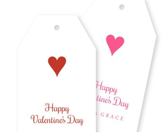 Personalized Valentine Gift Tags, hearts, pink, red