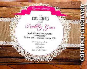 Burlap & Lace Shower Invitation