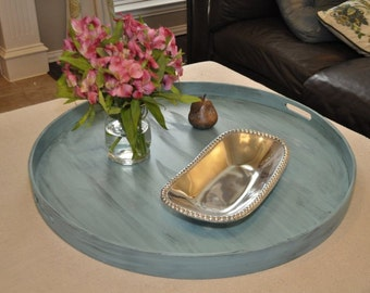 "30"", 32"" or 36"" Round Large Ottoman Tray - Distressed Turquoise"