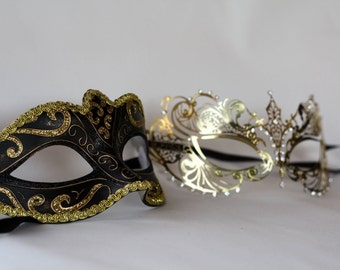 His and hers masquerade gold masks, couples masquerade masks, perfect for any homecoming party, new years parties