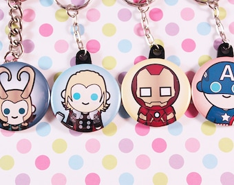 The Avengers Button Keychains