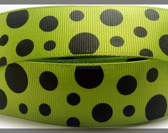 """Green with Black Polka Dots printed Grosgrain Ribbon 1"""" WIDE Scrapbooking HairBows Parties DIY Projects az177"""