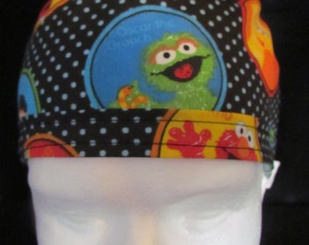Sesame Street Ernie Bert Big Bird Elmo Oscar the Grouch Cookie Monster Grover Pediatrics Surgical Tie Back Scrub Cap Hat