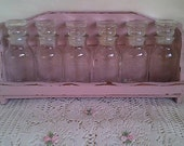 Shabby chic Pink Spice Rack with 6 Jars