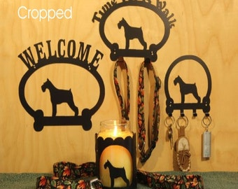Schnauzer  Welcome Sign, Time for A Walk Leash Hook, Key rack, Candle Holder for Yankee Type Jar Candles