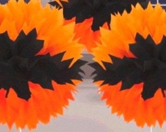 12 Halloween tissue poms/ paper pom poms / tissue paper balls / pom-poms / pompom / party poms / birthday pom poms / hanging poms