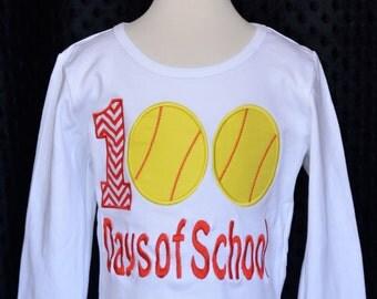 100 Days of School Softballs Applique Shirt or Onesie Boy or Girl