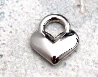 Heart Charm, Stainless Steel Jewelry Pendant, Set of 4 SST Findings 14x16x4mm Heart Pendant Heart Charm Heart Medium Heart (106)