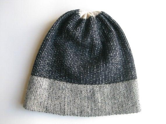 Ivorynavy reversible knitted cashmere beanie/ handmade