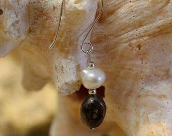 Double freshwater pearl earring, sterling silver hook.