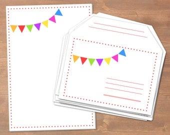 Wimpelkette II - handgemachtes Briefpapier // recycling Papier // 10 Briefumschläge & Block