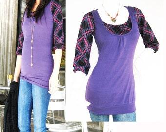 Maternity Clothes / Nursing Top / Breastfeeding Top / BECCA New / Tartan PURPLE / Nursing Clothes / Pregnancy Clothes