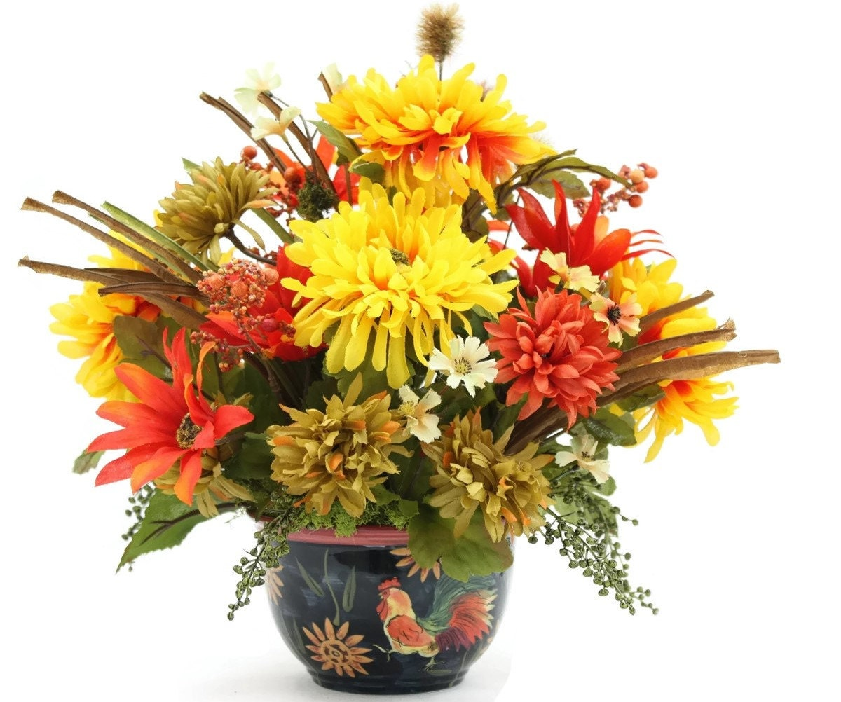 Dining table centerpiece silk flower arrangement dining room for Dining table flower arrangements