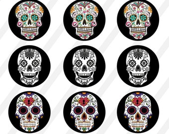 INSTANT DOWNLOAD Sugar Skulls  Bottle Cap Images Digital Collage Sheet for bottlecaps